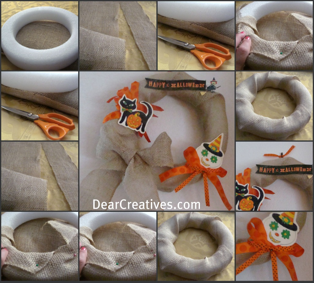 How to make a Burlap Wreath for Halloween - how to make a simple wreath wrapped in burlap for Halloween. Easy to make and budget friendly.