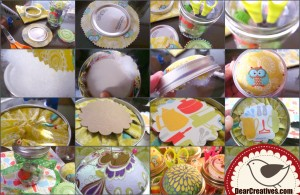 Step by Step images how to make a mason jar pin cushion.