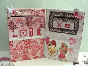 Two boxes decorated for Valentine's Day. - These can be used for collecting Valentines. Valentine's Day Mailboxes - DearCreatives.com