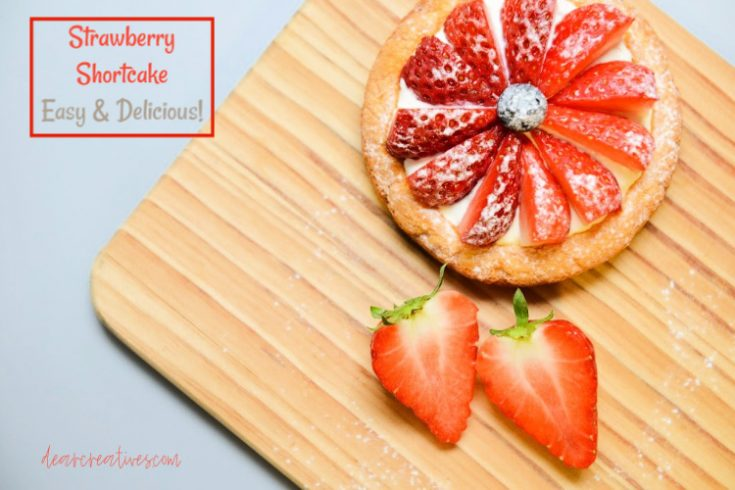 Strawberry Shortcake - an easy yummy biscuit like dessert to add strawberries and whip cream to. Find this yummy dessert recipe for strawberries at DearCreatives.com