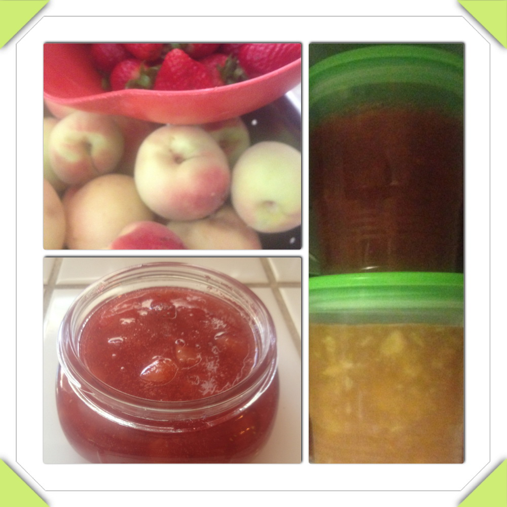 canning, freezer canning, peach strawberry jam, peaches, strawberries