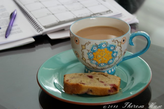 Coffee and a loaf on a plate, work space with coffeeTheresa Huse 2013 -0798