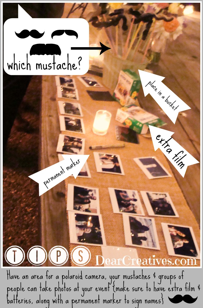Mustache Prop Party tips, Mustache props - This is great for a wedding activity, party or event. DearCreatives.com - Theresa Huse
