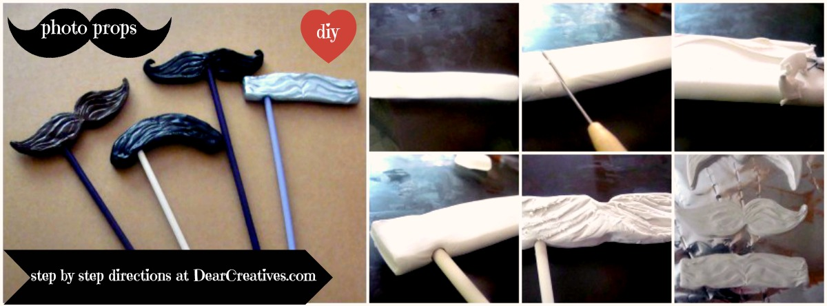 step by step Mustache Photo Prop diy dearcreatives.com © 2013 Theresa Huse 2013