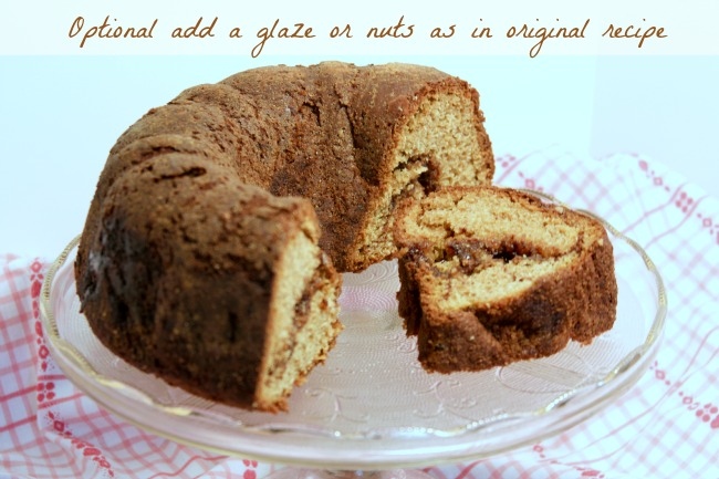 whole wheat cinnamon bundt cake - make this for brunch and pairs well with coffee.