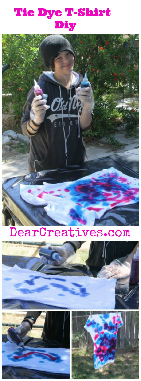 Diy, Sammie (Girl Tie Dying) Tie-Dye T-Shirt Project - Fun summer crafts to do with your older kids, tweens, and teens. Teen summer crafts. See how to tie-dye at DearCreatives.com