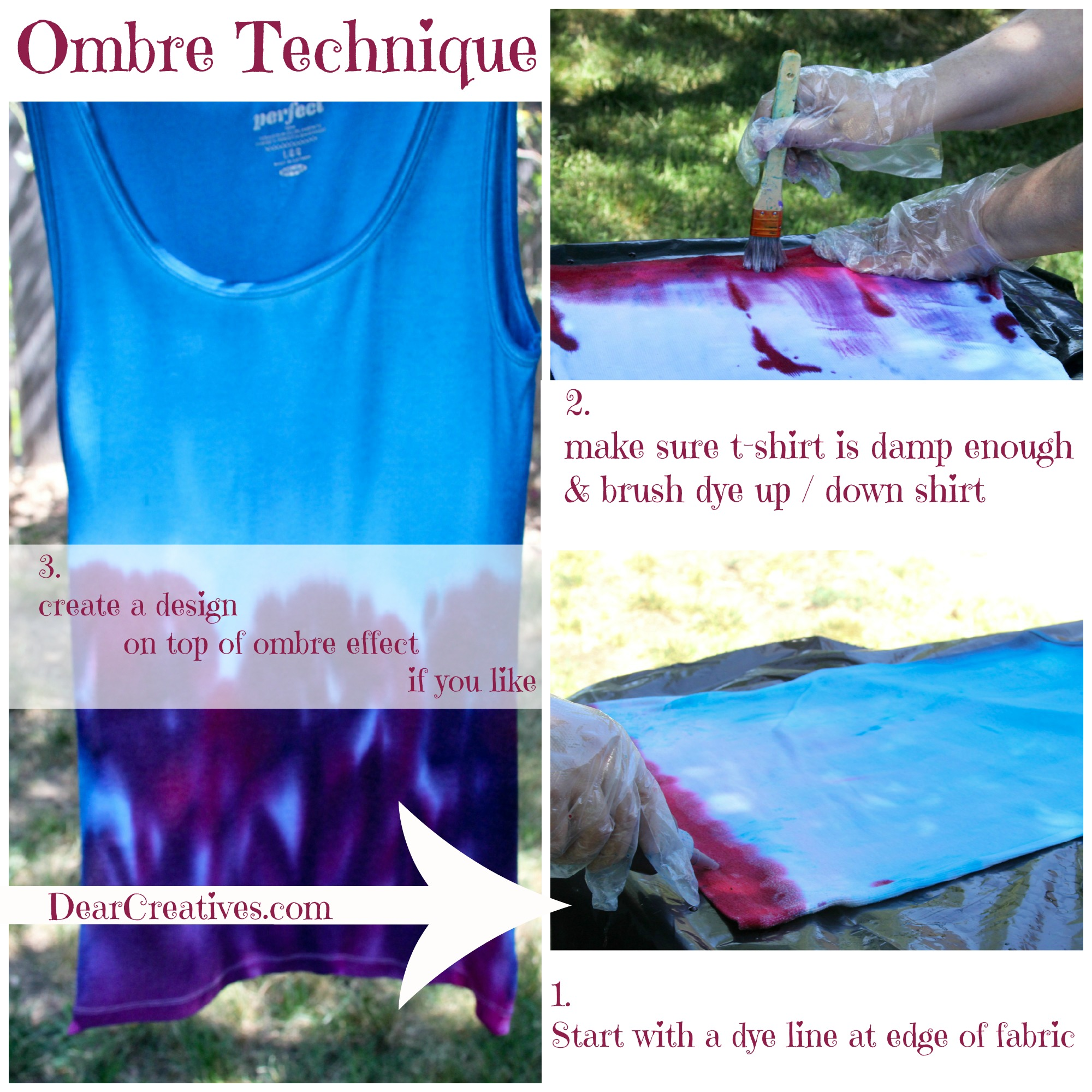 Step by Step Ombre Effect with Completed Tee Shirt - Ombre Tie-Dye Technique. Theresa Huse DearCreatives.com