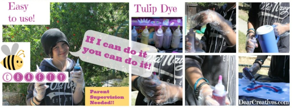 How to tie dye tee shirts. Summer craft ideas that are fun for older kids, tweens, and teens. Tulip Dye Kit Easy to Mix and Use Tie Dye © 2013 Theresa Huse DearCreatives.com