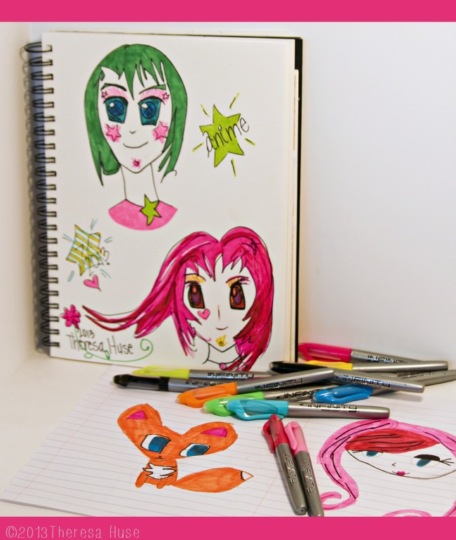 Anime Drawings with Infinity Pens, Child's drawings with infinity pens, infinity pens, Theresa Huse 2013