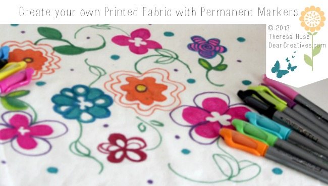 Fabric Print made with permanent markers, print on fabric, flower fabric, handmade fabric, Theresa Huse 2013-