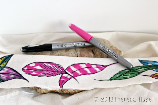 Hand drawn feathers on muslin, feathers, permanent pens on muslin, Infinity Pens,Theresa Huse 2013
