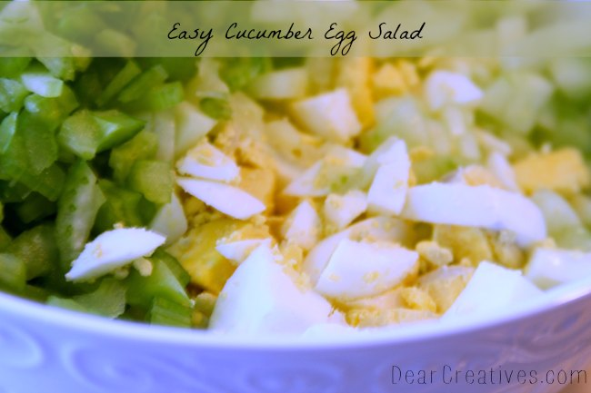 how to make egg salad - chopped hard boiled eggs celery and cucumbers in a bowl find all the ways to adapt this tasty recipe with hard boiled eggs. DearCreatives.com