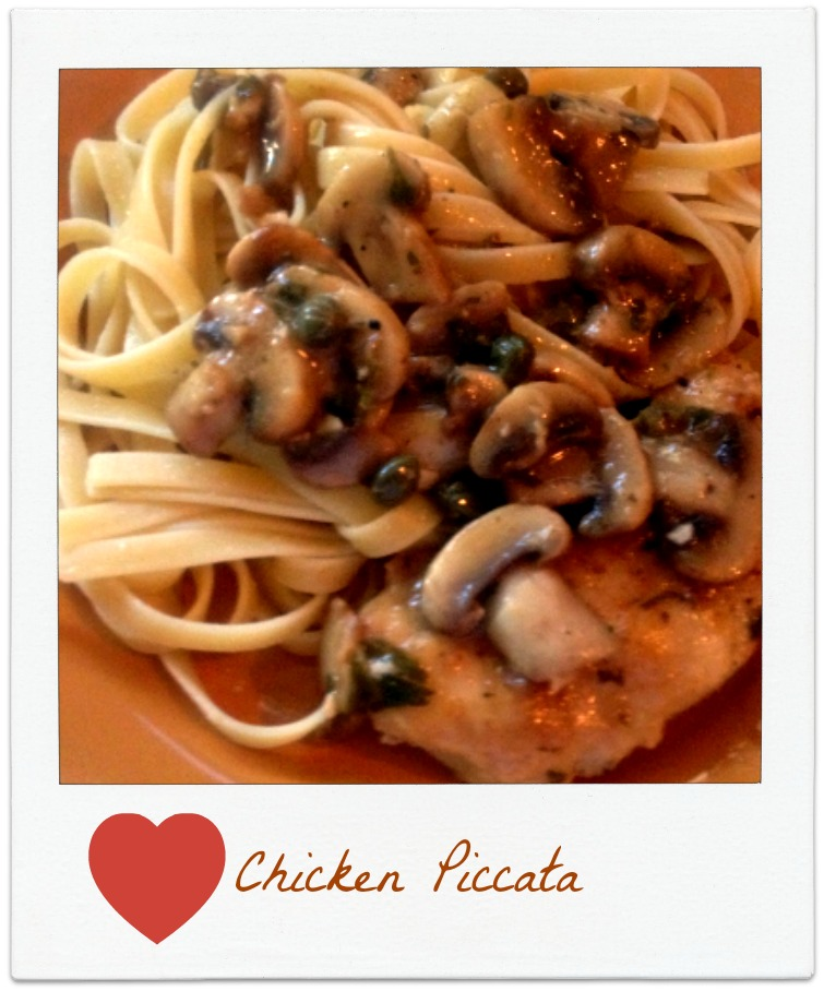 snap shot of a plate of chicken picatta, DearCreatives.com