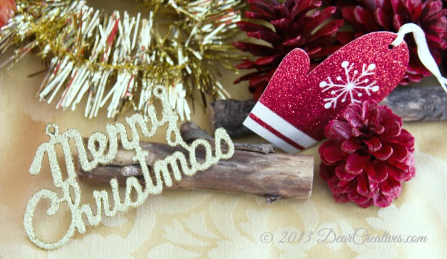 Merry Christmas, Ornament, Glittered Mitten_ Holiday packaging_ #shop_Theresa Huse 2013