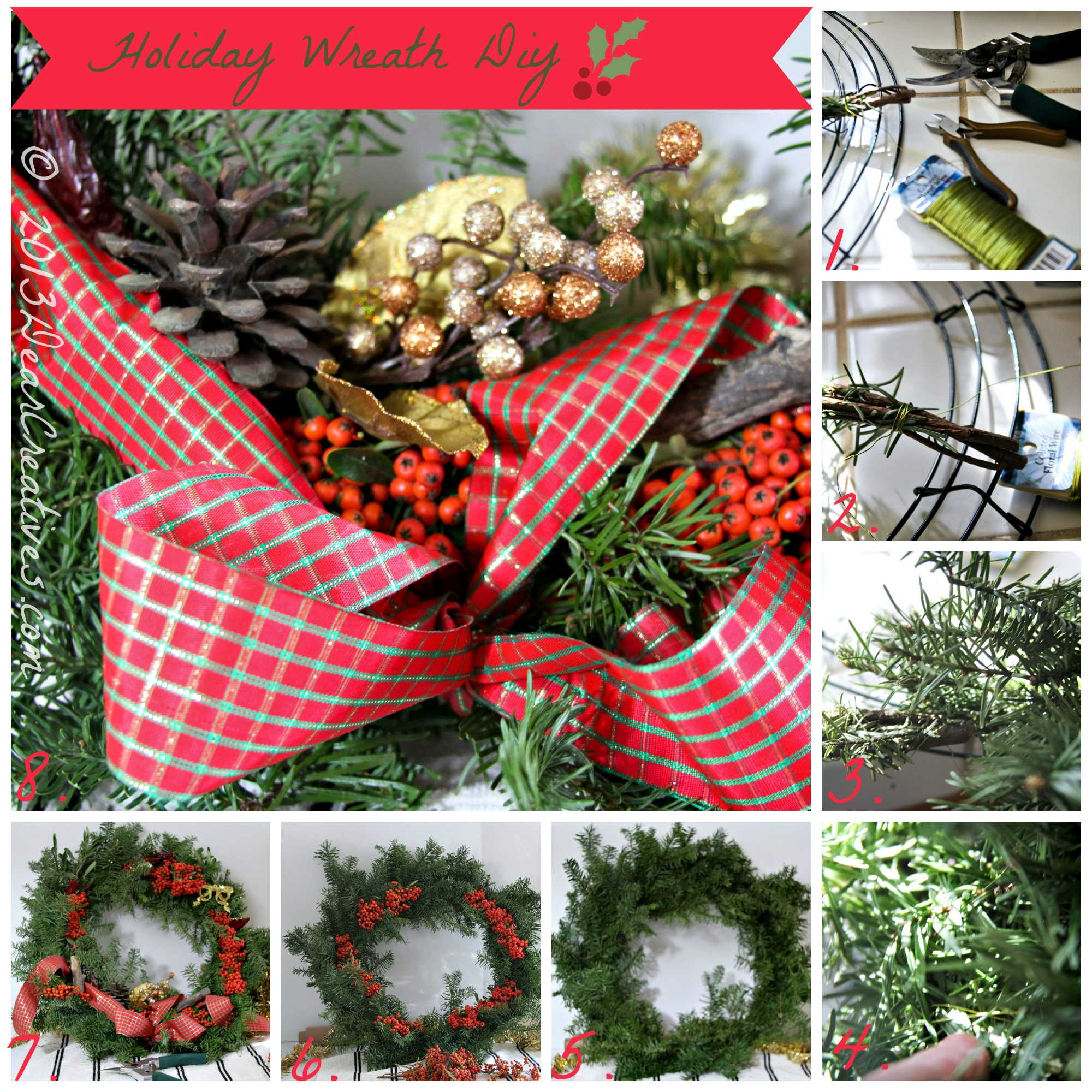 Step by Step How to Make a Wreath : Holiday Wreath #Diy
