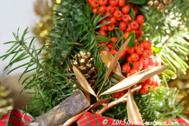 gold pine cone_berries_ gold leaf_ wreath details_Theresa Huse 2013
