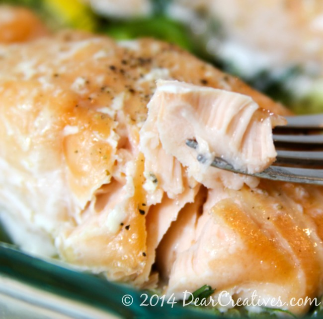 Baked Salmon_Salmon on a fork_