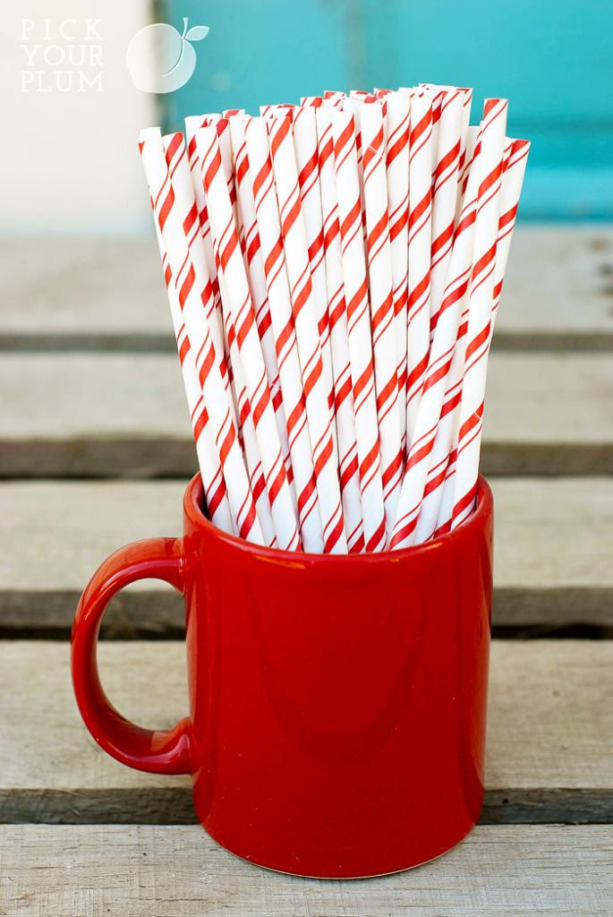 pick your plum red and white straws