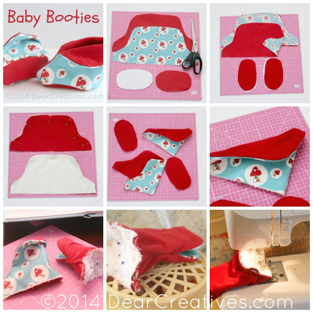 Step by Step How to sew baby booties_sewing_baby_sewing-pattern_DearCreatives.com