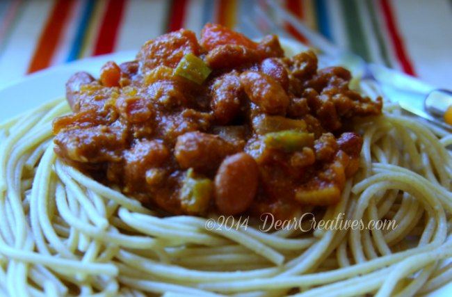 Tex Mex Spaghetti Chili Mac A New Tra-Dish Recipe