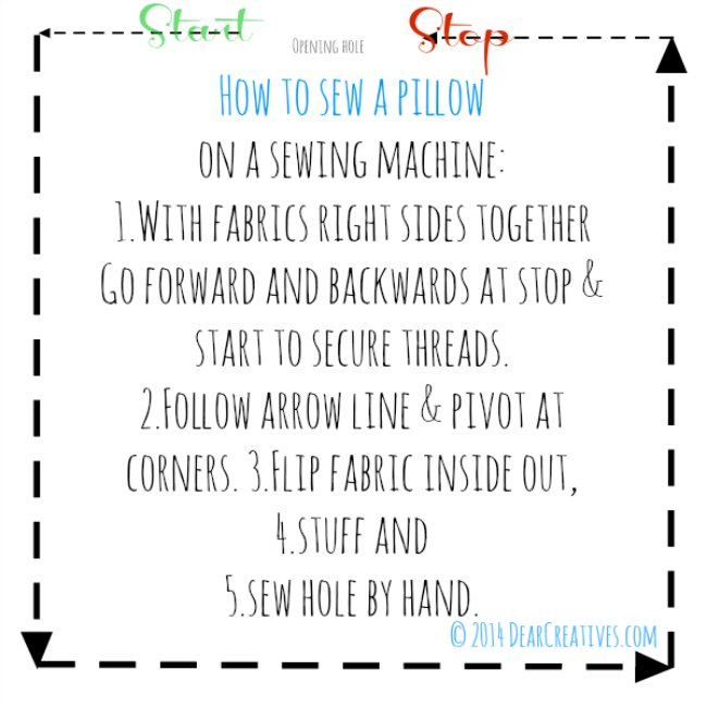 Directions for sewing a pillow_©2014 DearCreatives.com