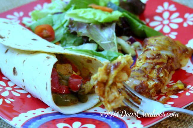 Enchilada with red sauce and chicken fajita and salad on a plate_