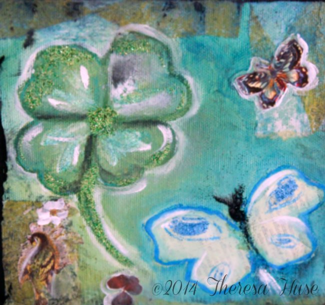 Close Up of Spring Mixed Media Painting with butterflies and four leaf clover_
