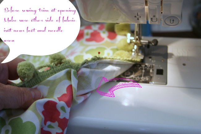 sewing trim at pillow opening_