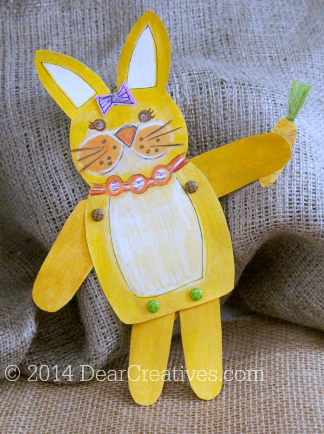Bunny with a carrot and bow on head_ hand painted bunny_ paper crafts