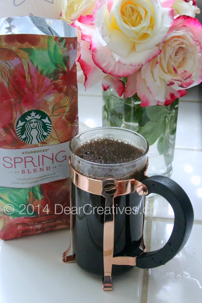 French press Starbucks Coffee Spring and flowers_