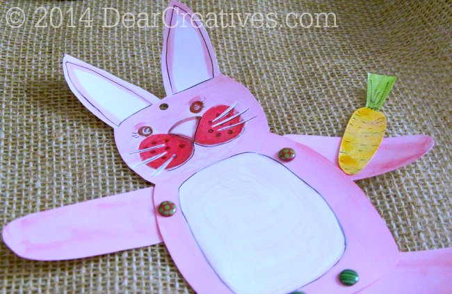 Pink hand painted Bunny Paper Crafts