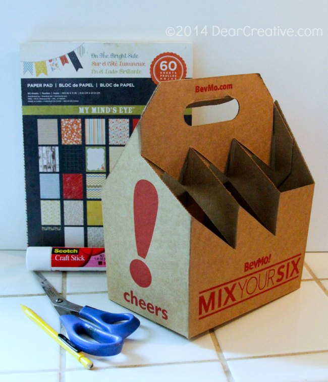 Beverage carrier and craft materials for DIY project_