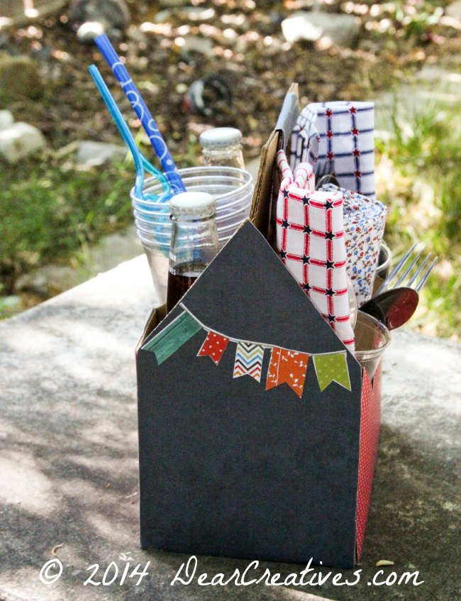 Utensil carrier with cloth napkins and supplies_