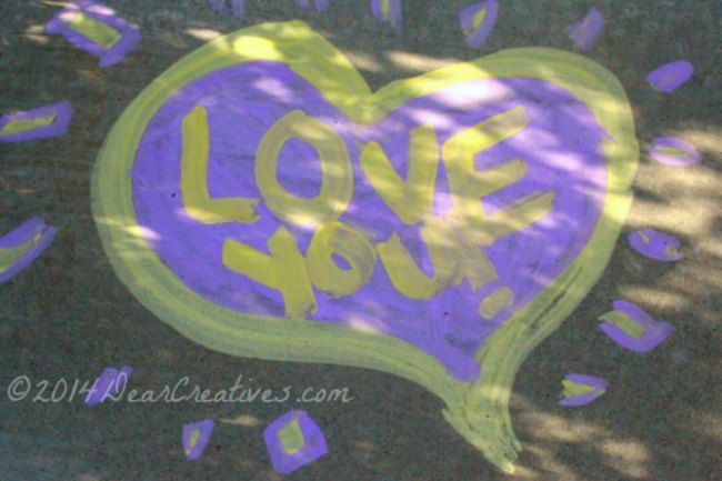 heart love you made with sidewalk chalk paint_