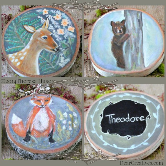 Deer_Fox_Bear_Woodland Paintings on Wood Rounds and child's name painted on wood rounds - DearCreatives.com