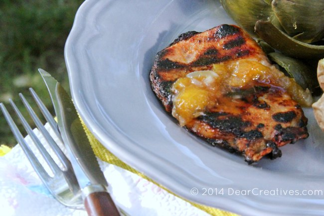 Pork Chops with Peach honey glaze and peach topping_