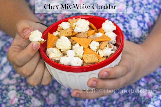 Chex Mix Popped White Cheddar in a bowl_
