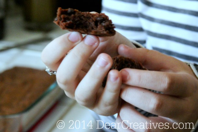 Hands holding a brownie_