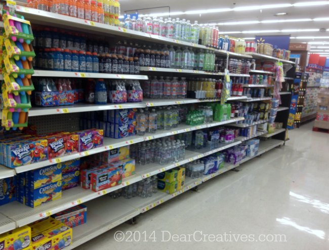 Water and juices isle at Walmart_