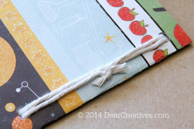back to school crafts - back of mini notebook and how it is tied