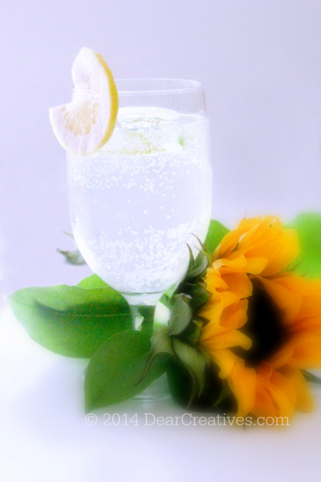 sparkling water in a glass with lemon_