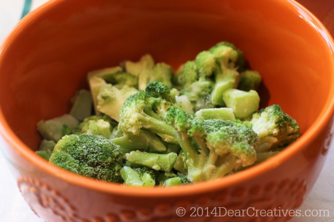 Frozen Broccoli in a bowl_