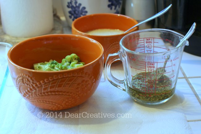 Mixing Bowls and measuring cup with cooking ingredients_