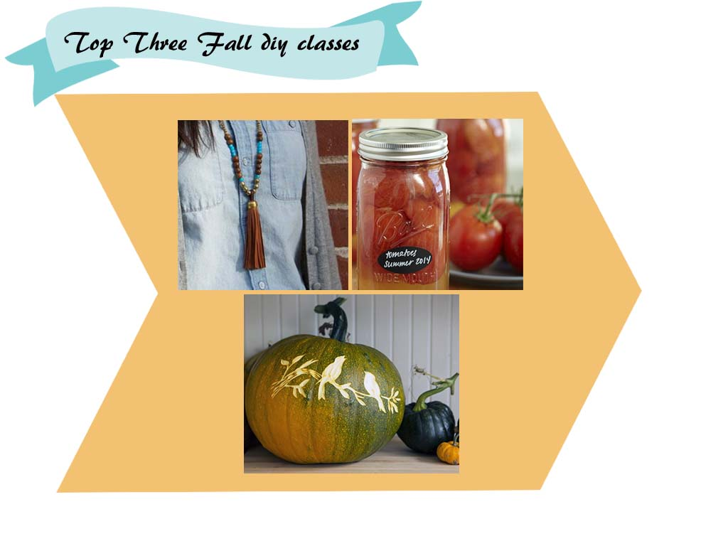 Top Three Fall Online #DIY Classes: #Jewelry #Canning #PumpkinCarving