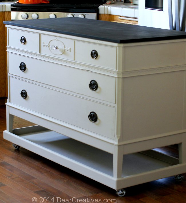 Furniture Restoration Dresser to Kitchen Island - DIY Kitchen Island -We took an old dresser and upcycled and restored it, transforming it into a kitchen island.