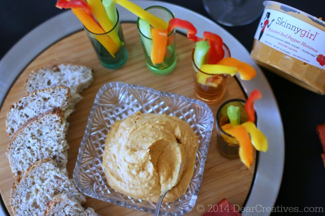 appetizer tray with veggies bread and hummus_