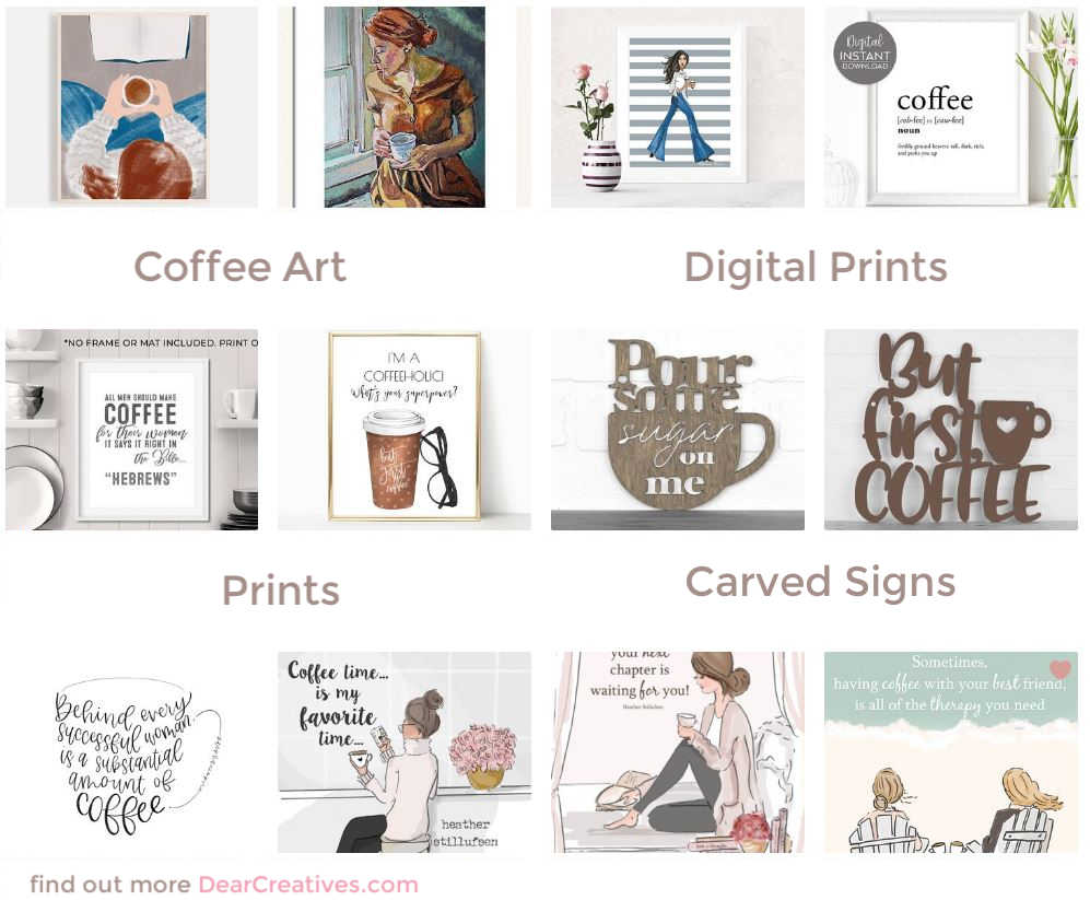 Coffee Art, prints, digital downloads, carved wood coffee signs... Find out more about these designs perfect for your home! DearCreatives.com