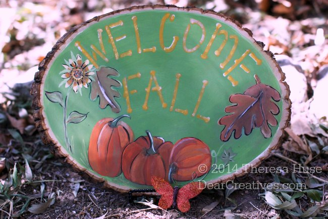 Fall Crafts_ Painted Welcome Fall_pumpkins and leaves with sunflower_