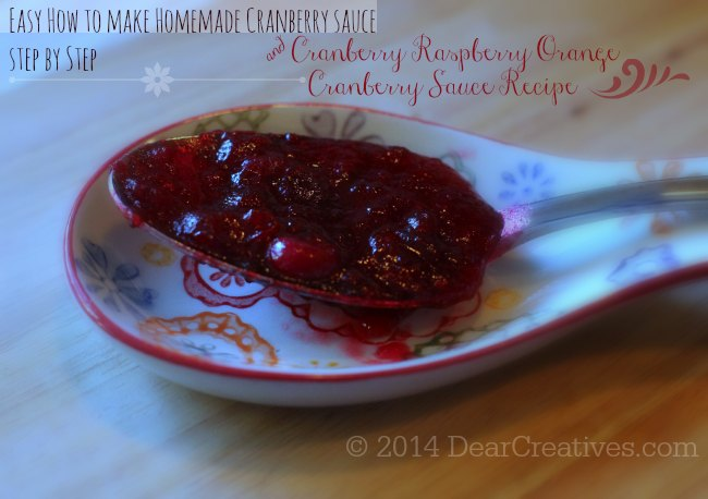 Homemade Cranberry Sauce How To Make Cranberry Sauce_Cranberry Raspberry Orange Cranberry Sauce on a spoon_