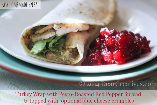 Turkey Wrap Sandwich with pesto and red pepper spread_turkey wrap sandwich_DearCreatives.com